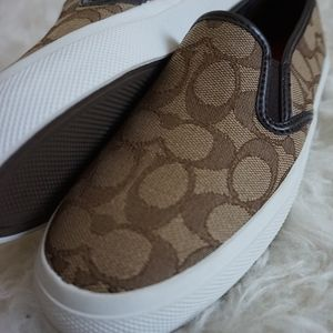 New COACH Chrissy Slip On Sneakers brown f